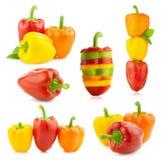 Poivrons frais colorés - grand ensemble - différentes compositions - isolant Image stock