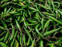 Poivrons frais verts chauds de marché de produit Photo libre de droits