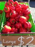Poivrons rouges à un marché d'agriculteurs Images libres de droits