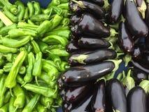 Poivrons verts et aubergines image libre de droits