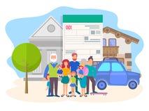 Pojęcie kupienie samochody na kredycie i nieruchomość ilustracji