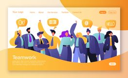 Pojęcie lądowanie strona na praca zespołowa temacie Wektorowa ilustracja dla mobilnego strona internetowa rozwoju i strona intern royalty ilustracja