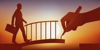 Pojęcie pomoc, z ręką rysuje most pozwolić mężczyzny krzyżować otchłań ilustracja wektor