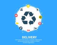 pojęcia dostawy odosobniony biel Abstrakcjonistyczny tło z związanymi przekładniami i ikonami dla logistycznie usługowymi, strate ilustracji