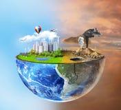 pojęcia eco pokoju gołębie Przyrodnia sfera ziemia z światło stroną Zdjęcie Royalty Free