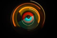 pojęcia gitary elektrycznej ilustraci muzyka Freezelight rozjarzony winyl na ciemnym tle lub Turntable bawić się winyl z rozjarzo Obrazy Stock