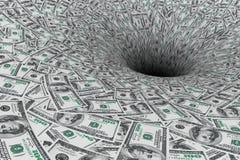 pojęcia kryzysu ręki pieniądze statku wody wrak Pieniądze przepływ w Czarnej dziurze Zdjęcie Royalty Free