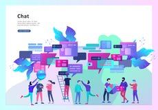 Pojęcia lądowania strony szablon, mieszkanie styl, biznesmeni dyskutuje ogólnospołeczną sieć, wiadomość, ogólnospołeczne sieci royalty ilustracja
