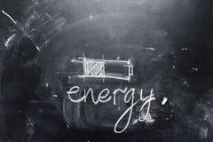 Pojęcia oszczędzania energii kredy teksta baterii czerń Zdjęcie Stock