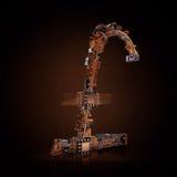 pojęcia prowadzenia domu posiadanie klucza złoty sięgający niebo Funta symbol mikroukłady na czarnym tle Fotografia Royalty Free