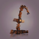 pojęcia prowadzenia domu posiadanie klucza złoty sięgający niebo Funta symbol mikroukłady na popielatym tle Fotografia Stock