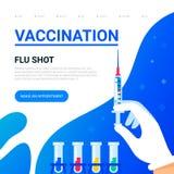 pojęcia ręk strzykawki szczepienie  Używalny dla sieć sztandaru, artykuły, infographics mieszkanie ilustracja wektor