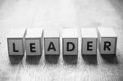 Pojęcia słowo tworzy z sześcianem - lider zdjęcie stock