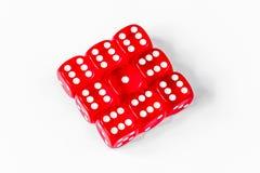 Pojęcia szczęście - kostka do gry uprawia hazard na białym tle obrazy royalty free