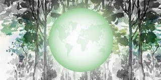 pojęcia szkodliwy środowiskowy ludzki potrzeby zanieczyszczanie przetwarza korzenie błoci drzewa zielony świat adobe korekcj wyso ilustracja wektor
