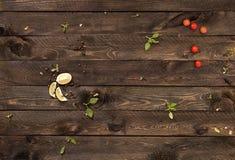Pojęcia tło dla menu tabela drewna Fotografia Stock