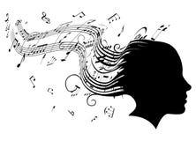 pojęcia włosy głowy muzyki profilu kobieta royalty ilustracja