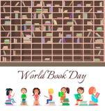 Pojęcie świat książki dzień z Dużym Brown Bookcase ilustracji