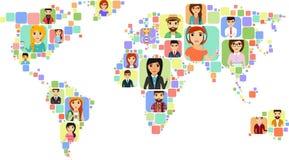 Pojęcie światowa mapa z ikonami różnorodni ludzie Obrazy Royalty Free