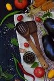 Pojęcie życiorys żywność organiczna Składniki dla zdrowego kucharstwa Warzywa i pikantność na ciemnym drewnianym tle Przygotowani Obraz Royalty Free