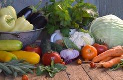 Pojęcie życiorys żywność organiczna Składniki dla zdrowego kucharstwa Warzywa i ziele na drewnianym tle Przygotowanie naczynia od Fotografia Stock