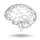 Pojęcie Aktywny ludzki mózg z Binarnego kodu strumieniem Ludzki Mózg Zakrywający z spadkiem Binarne liczby Technologia Niski Poli royalty ilustracja