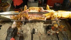 Pojęcie azjatykcia kuchnia Mały aligator rozciągał na mierzei piec nad ogniskiem zbiory wideo