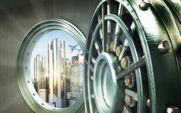 Pojęcie bezpiecznego miasta Duży bezpieczny drzwi z miast ingots Wysokim resolut Obrazy Royalty Free