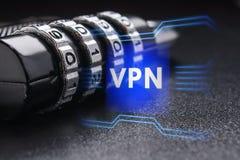 Pojęcie bezpiecznie związek używać VPN technologię fotografia stock