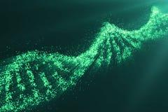 Pojęcie biochemie z dna molekułą na zielonym tle, inżynierii genetycznej naukowy pojęcie, zielony odcień 3d Obraz Royalty Free