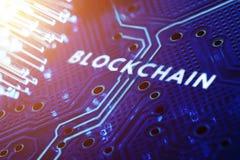 Pojęcie blokowego łańcuchu technologii PCB Cyfrowej przyszłość Obrazy Royalty Free