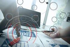 Pojęcie cel ostrości cyfrowy diagram, wykresów interfejsy, wirtualni Obrazy Stock