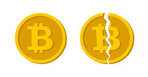 Pojęcie Cryptocurrency Bitcoin dzielił Gotówkowy Płaski projekta wektor Wektor łamający bitcoin Blockchain i crypto waluta kryzys royalty ilustracja