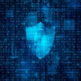 pojęcie cyber ochrona Cyberprzestrzeń, bynary kod - matryca Kodujący dane również zwrócić corel ilustracji wektora Obraz Stock