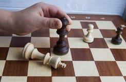 pojęcie czarny szachowy dialog oblicza królewiątko królowej Obraz Royalty Free
