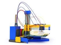 Pojęcie 3d drukarki druku bitcoin 3d odpłaca się na białym backg Obraz Stock