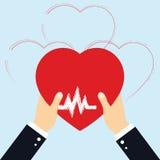 Pojęcie Darowałem organ, serce w ręka symbolu, kierowa ikona w czerwonego koloru wektorze Obraz Stock