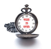 Pojęcie dla dzień zagłady z kieszeniowym zegarkiem obraz stock