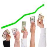 Pojęcie dolar dostaje coraz więcej kosztowność Fotografia Stock