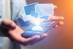 Pojęcie dosłanie email na smartphone interfejsie z wiadomością ic Obrazy Stock