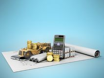 Pojęcie drogowego bruku naprawy materiałów budowlanych calculati ilustracji