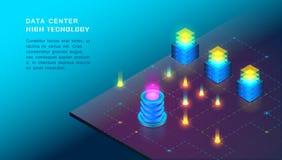 Pojęcie duzi dane - przetwarzający, web hosting i serweru pokój, komputer ilustracji
