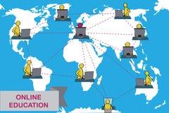 Pojęcie dystansowa edukacja i nauczanie online royalty ilustracja