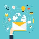 pojęcie działająca email kampania, email reklama, ilustracja wektor