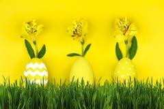 pojęcie Easter szczęśliwy Żółci jajka i zielona trawa Zdjęcia Royalty Free