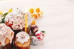 pojęcie Easter szczęśliwy eleganccy malujący jajka i Easter zasychają na wh Fotografia Stock