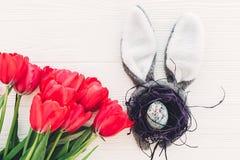 pojęcie Easter szczęśliwy królików ucho i elegancki jajko w gniazdeczku i tu Zdjęcie Royalty Free