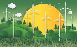 Pojęcie eco, energii słonecznej pojęcie z silnikami wiatrowymi wysoki vol Obraz Royalty Free