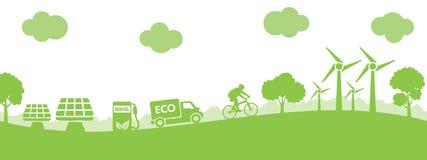 Pojęcie ekologii miasto - wektor royalty ilustracja