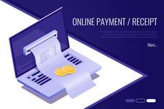 Pojęcie elektroniczny rachunek i online bank, laptop z czek taśmą 3D isometric styl ilustracji
